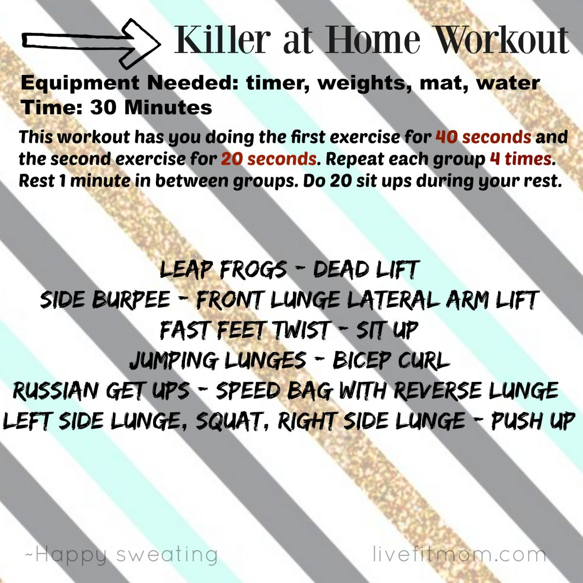 Killer 30 minute at home workout